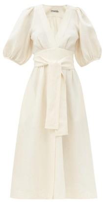 Three Graces London Fiona Puff-sleeve Tie-waist Linen Midi Dress - Ivory