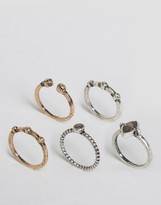 Asos Pack of 5 Mixed Stone Rings