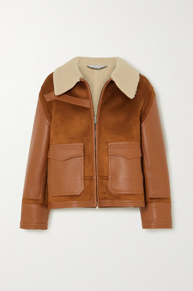 Stella McCartney Faux Suede, Leather And Shearling Jacket - Brown