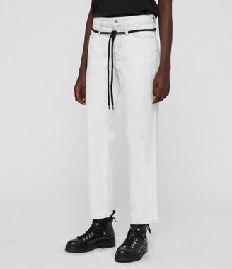 AllSaints Alana Boyfriend Low-Rise Jeans, Bleach Indigo Blue