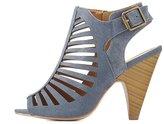 Charlotte Russe Denim Caged Slingback Sandals