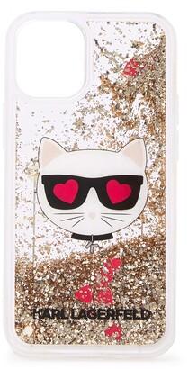 Karl Lagerfeld Paris Choupette Liquid Gold Glitter iPhone 12 Mini Case