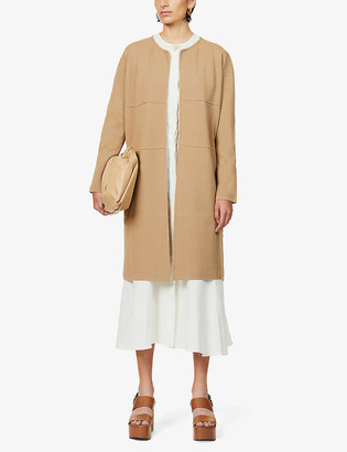 Max Mara Girotta cable knit-panel stretch-jersey coat