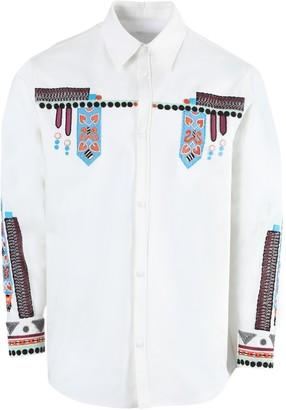 Valentino White Multicolored Embroidered Button-down Shirt