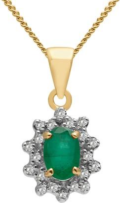 A B Davis 9ct Gold Oval Precious Stone and Diamond Cluster Pendant Necklace