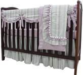 Sahaler Natural Washed Cotton 5 pieces set ruffle Crib Bedding Set Nursery Crib Rail Guard Cover Set