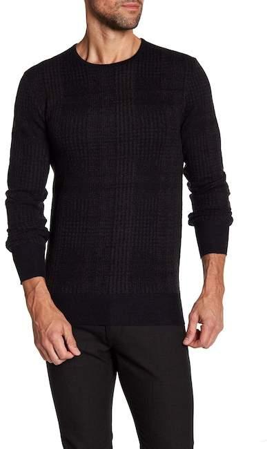 John Varvatos Collection Plaid Jacquard Merino Wool Crew Neck Sweater
