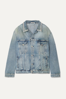Miu Miu Oversized Crystal-embellished Denim Jacket - Blue