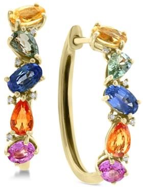 Effy Multi-Sapphire (2-3/4 ct. t.w.) & Diamond Accent Hoop Earrings in 14k Gold
