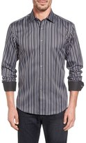 Bugatchi Bugtachi Shaped Fit Variegated Stripe Sport Shirt