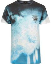 River Island Mens White and blue floral smudge print T-shirt