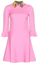 Valentino Wool And Silk Dress With Leather Collar