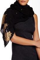 Saachi Gold Lace Motif Black Wool Wrap