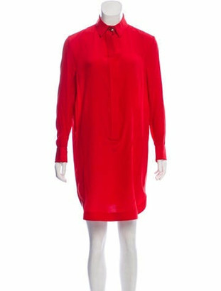 Givenchy Silk Long Sleeve Dress Red