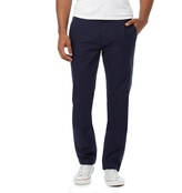 Fred Perry Navy Textured Flat Front Trousers