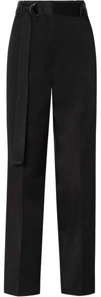 Joseph Belted Satin Wide-leg Pants - Black