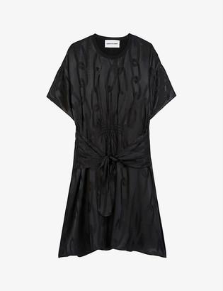 Chain link-jacquard crepe dress