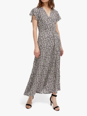 French Connection Aubi Floral Maxi Dress, Utility Blue/Classic Cream