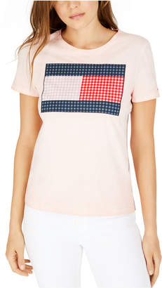 Tommy Hilfiger Gingham-Print Patchwork Logo T-Shirt