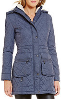 Steve Madden Faux-Fur Trimmed Glacier Shield Quilted Anorak Coat