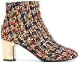 Casadei metallic heel tweed boots - women - Calf Leather/Leather/Nappa Leather/Polyester - 35