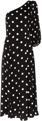 Reformation Lawrence one-shoulder polka-dot midi dress