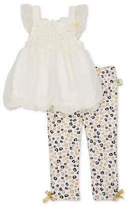 Duck Duck Goose Baby Girl Balloon Top & Pant Outfit, 2pc set