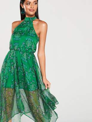 AX Paris Printed Halterneck Midi Dress - Green