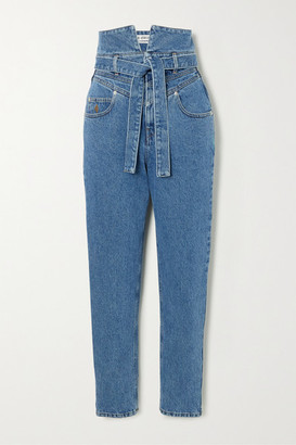 ATTICO Belted High-rise Straight-leg Jeans - Blue