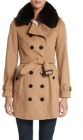 Burberry Women's Sandringham Wool & Cashmere Trench Coat With Removable Genuine Fox Fur Collar