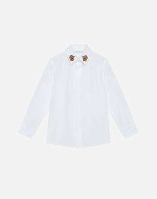 Dolce & Gabbana Poplin Shirt With Crown Patch