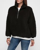 Express Varsity Stripe Sherpa Quarter Zip Sweatshirt