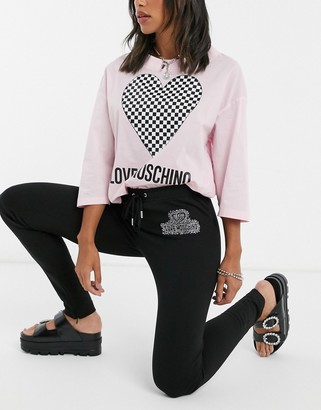 Love Moschino diamante logo joggers in black