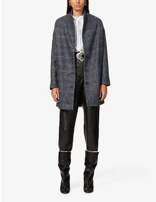 Sessun Herringbone-print wool-blend coat