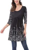Reborn Collection Women's Tunics Black - Black & White Abstract Empire-Waist Tunic - Plus