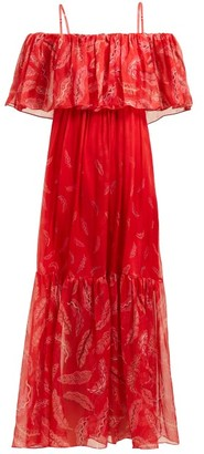 Three Graces London X Zandra Rhodes Diana Off-the-shoulder Silk Dress - Womens - Red Multi