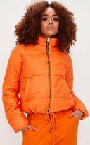 PrettyLittleThing Orange High Shine Cropped Puffer Jacket