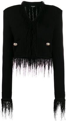 Balmain Fringed Cropped Knitted Jacket