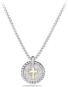 David Yurman Petite Pave Cross Charm Necklace With Diamonds With 18K