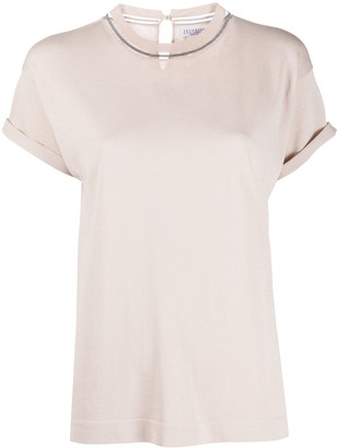 Brunello Cucinelli metallic embellished T-shirt