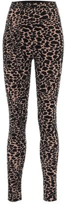 Alaia High-rise stretch-velvet leggings
