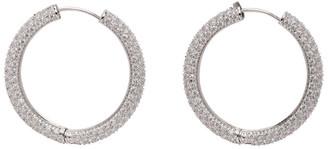 Numbering Silver Large Crystal Hoop Earrings