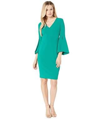 Calvin Klein V-Neck Solid Bell Big Sleeve Shift Dress