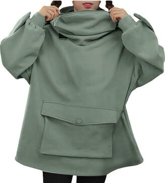 Lemooner Women Novelty Hoodies Sweatshirts Cute Design Frog Pullover Blouse Tops Three-Dimensional Pocket Casual Sweatshirts Size 8-16 UK Green