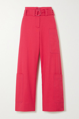 Stine Goya Roman Oversized Belted Cotton-blend Drill Wide-leg Pants
