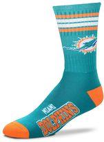 For Bare Feet Men's Miami Dolphins Deuce Striped Crew Socks