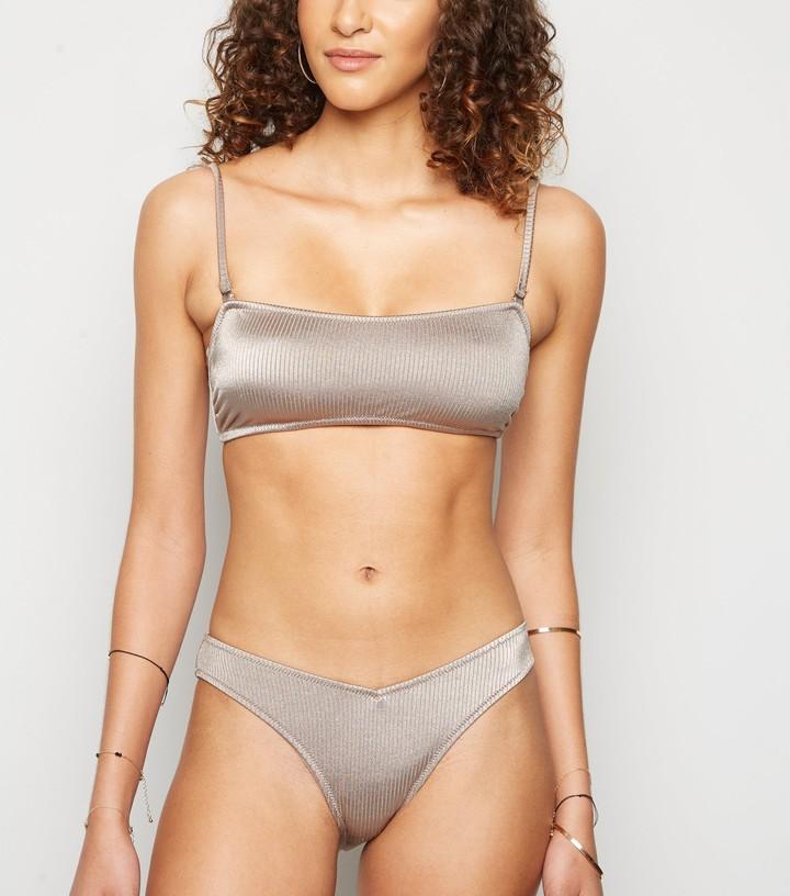 New Look Ribbed V Front Bikini Bottoms
