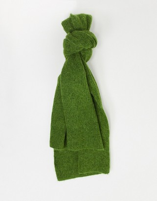 Selected knitted scarf in green