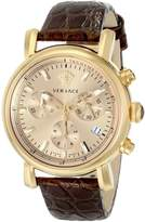 Versace Women's VLB070014 Day Glam -Tone Stainless Steel Watch With Brown Leather Band