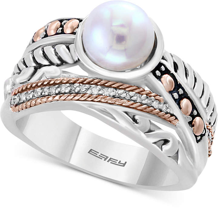 Effy Balissima by Cultured Freshwater Pearl (8mm) & Diamond Accent Ring in Sterling Silver & 18k Rose Gold